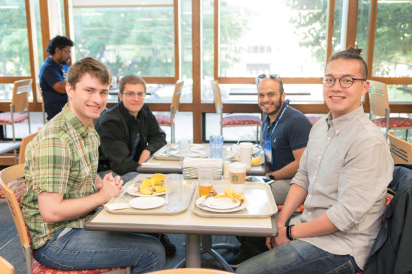 American Society of Virology conference attendees eating breakfast