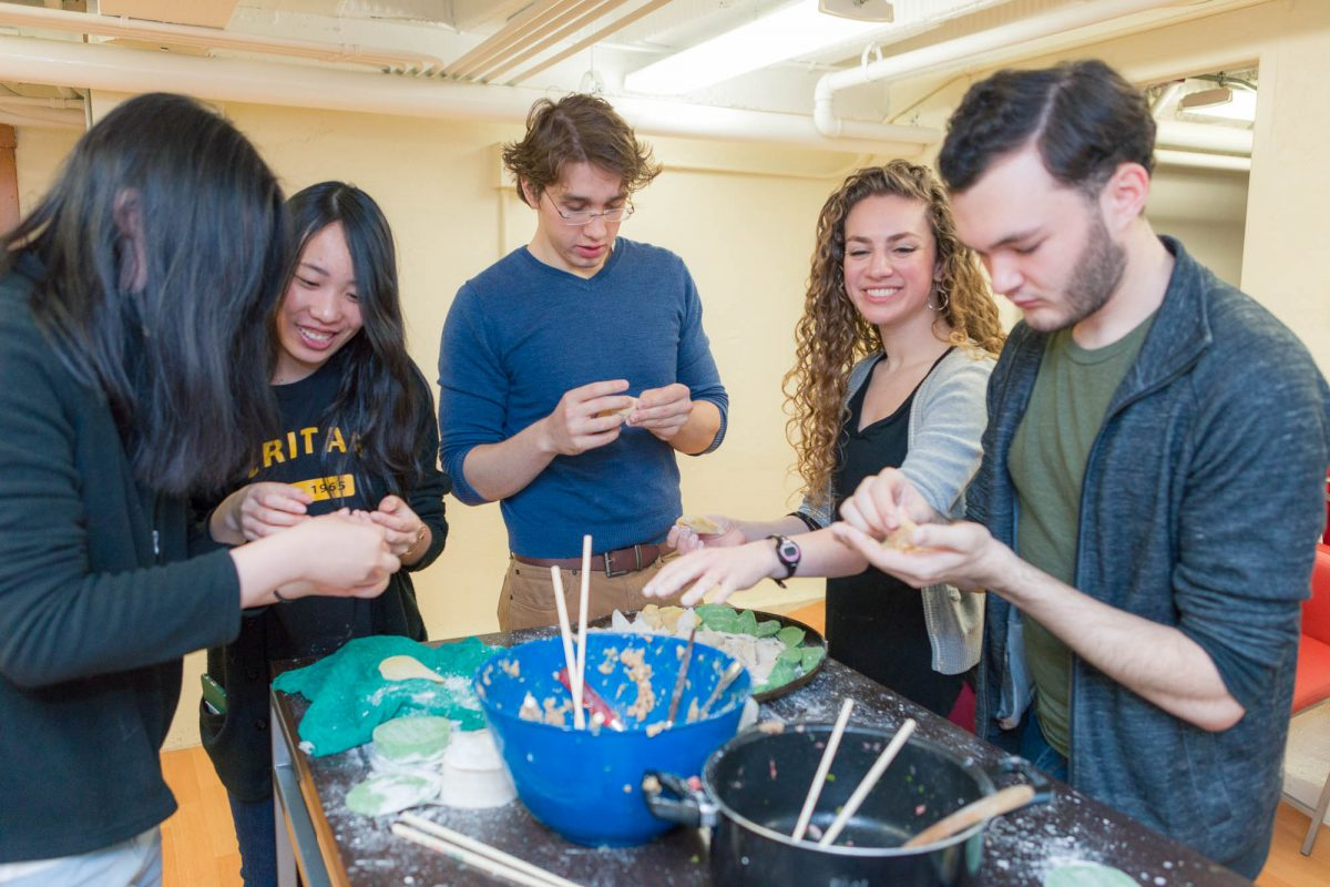 Students in the International Learning Community in Adams Residence Hall celebrate the Lunar New Year with traditional Chinese food