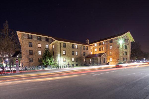 Adams Hall exterior at night