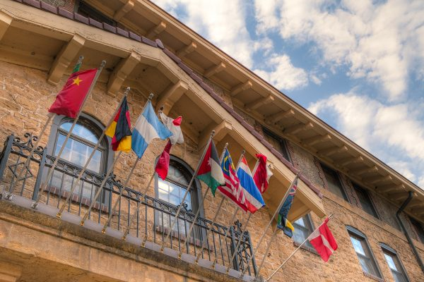 many national flags hung outside ILC