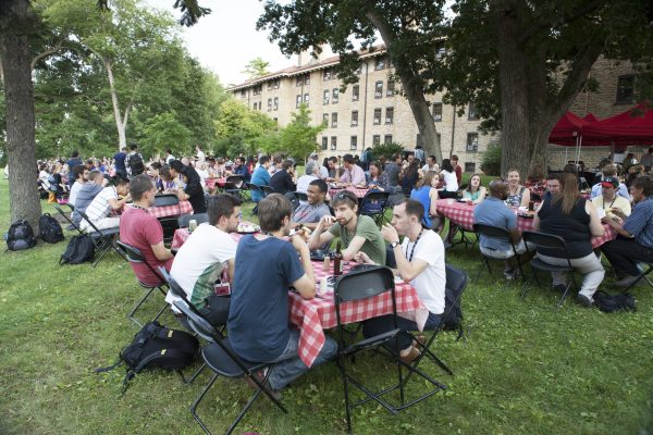 Catered picnic outside Tripp Hall.