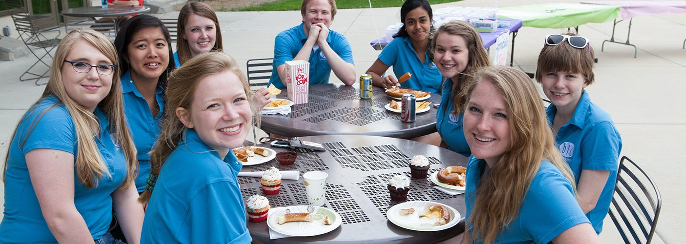 BLC residents eat outside at their devocation