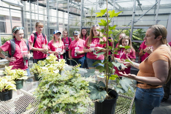 A youth group in the greenhouse in Leopold Hall