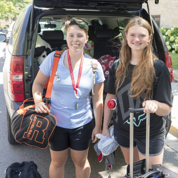 Students checking into rowing camp.