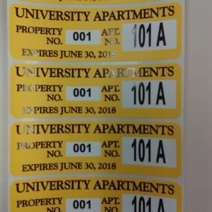Property stickers for University Apartments.