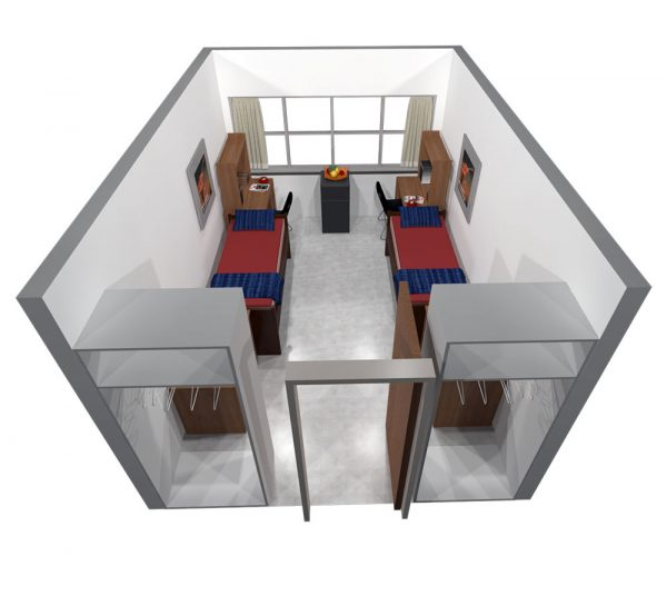 3d view of a room in Bradley Hall.