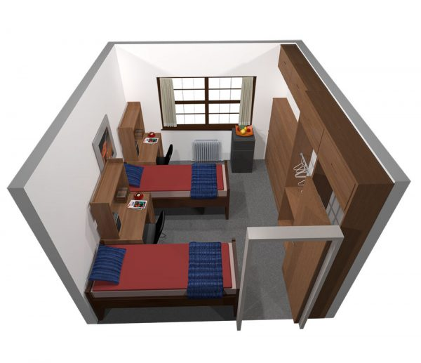 3d view of a guest room in Kronshage Hall.