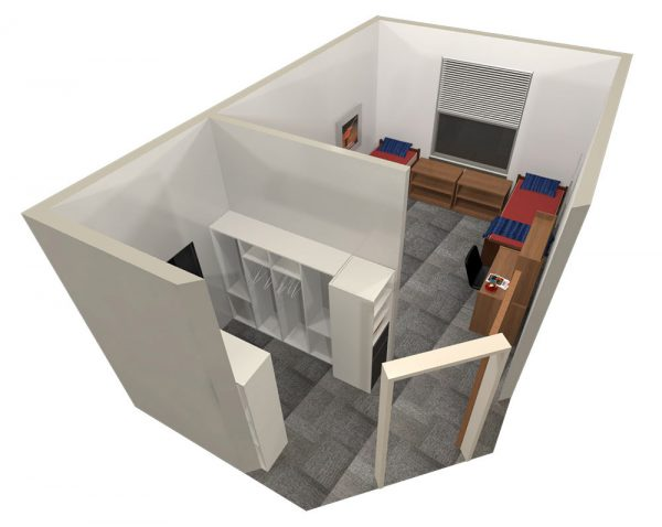 3d view of a guest room in Leopold Hall.