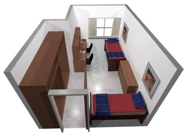 3d view of Sellery Hall guest accommodations.