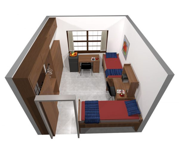 3d view of guest accommodation in Slichter Hall.