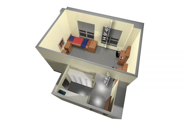 3d view of guest accommodations in Smith Hall.