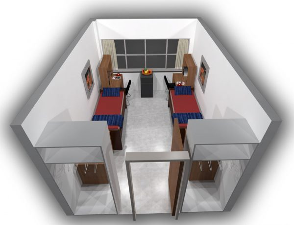 3d view of guest accommodations in Sullivan Hall.