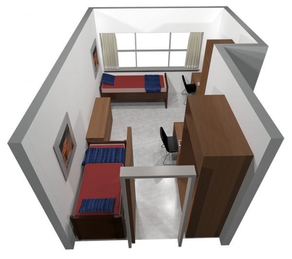 3d view of guest accommodations in Witte Hall.