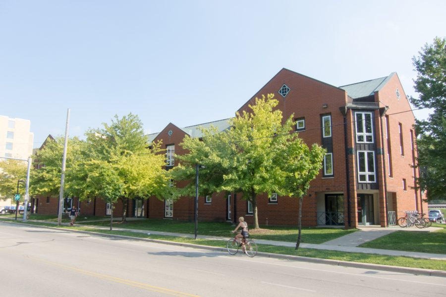 Exterior of Merit Hall.