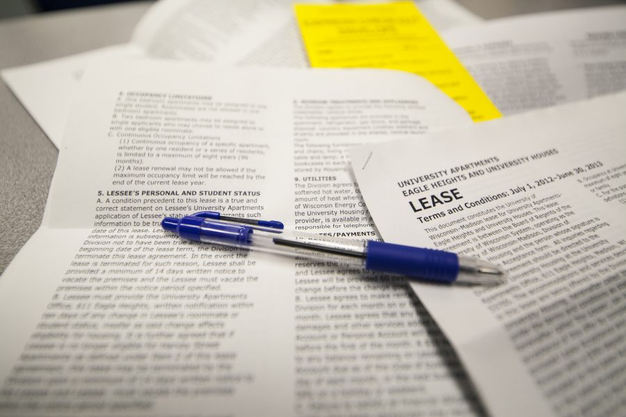 Leasing paperwork for University Apartments.