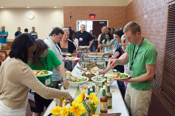 Guests enjoy a catered buffet lunch in Gordon Dining & Event Center.