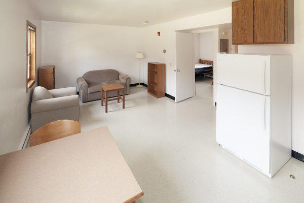 Living room in Harvey Street apartments.