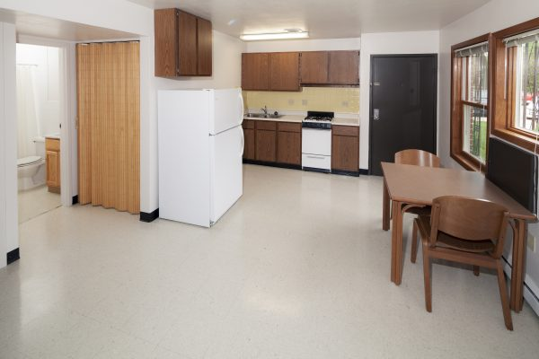 Kitchen/dining room in a Harvey Street apartment.