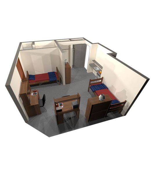 A 3d view of a guest room in Merit Hall.