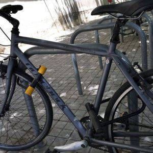 Bike with a bike lock.