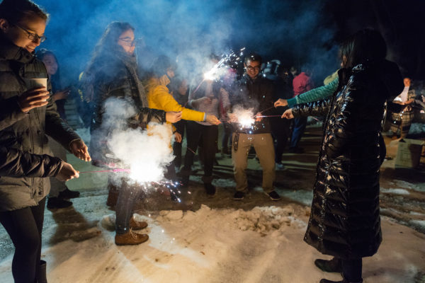 ILC residents light sparklers in celebration of Chinese New Year
