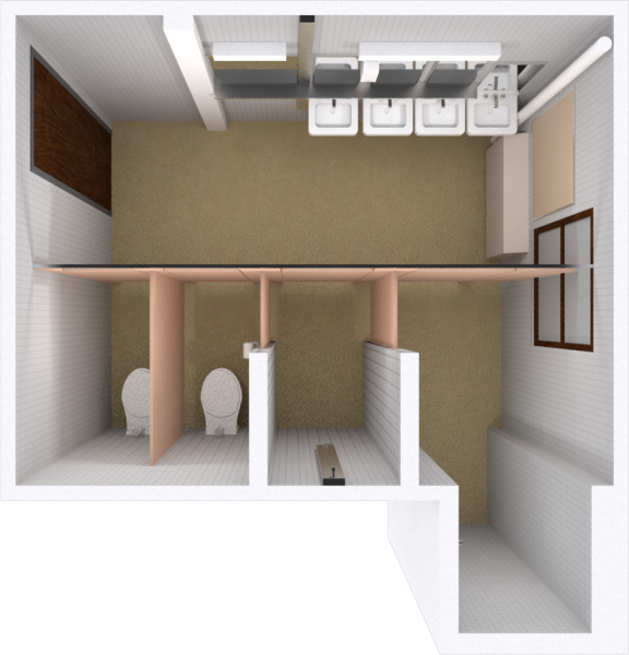 A 2d layout view of a bathroom in Tripp.