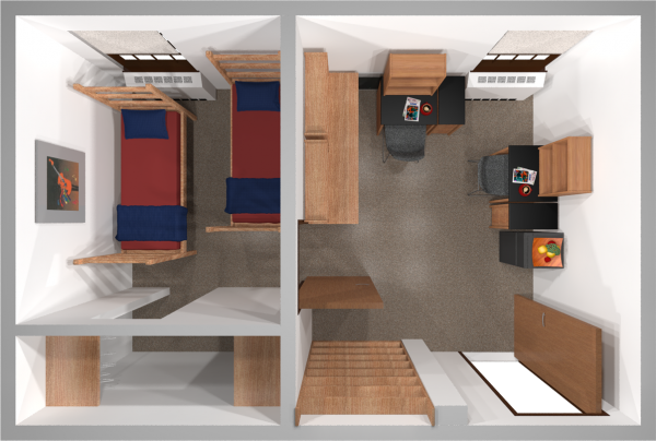 A 2d layout view of a double room in Adams/Tripp.