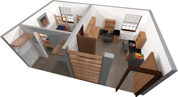 A 3d layout view of a double room in Adams/Tripp.