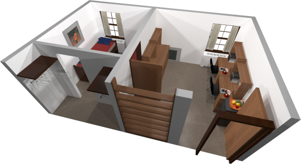 A 3d layout view of a double room in Barnard.