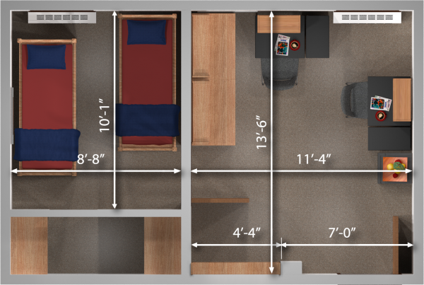 A 2d layout view with the dimensions of a double room in Adams/Tripp.