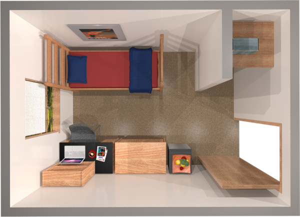 A 2d layout view of a single room in Adams/Tripp.