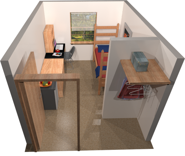 A 3d room layout view of a single room in Adams/Tripp.