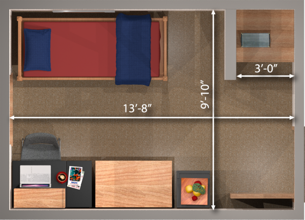 A 2d layout view with the dimensions of a single room in Adams/Tripp.