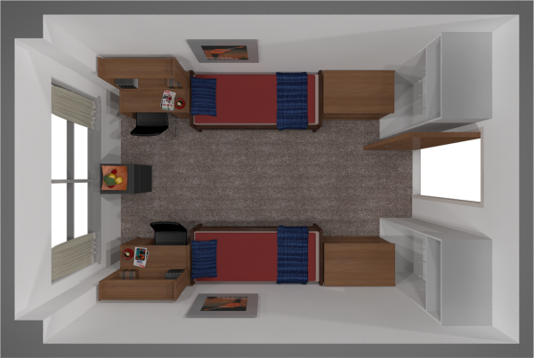 A 2d layout view of a double room in Chadbourne.