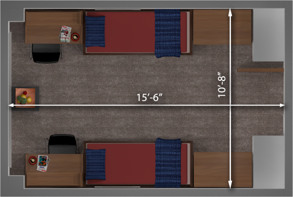 A 2d layout view with the dimensions of a double room in Chadbourne.