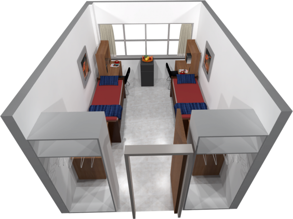 A 3d layout view of a double room in Cole.