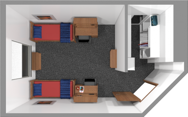 A 2d layout view of a double room in Dejope.