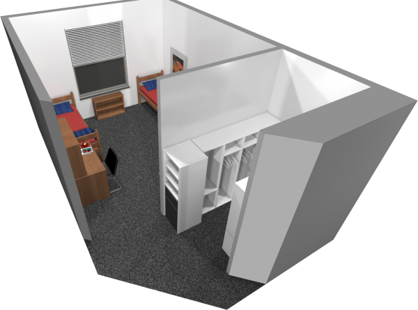 A 3d layout view of a double room in Dejope.