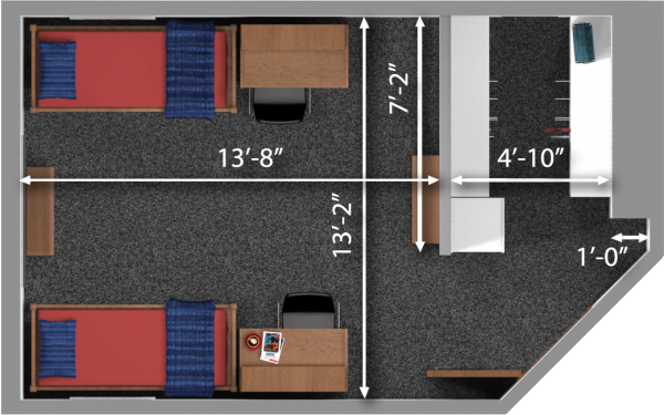A 2d layout view with the dimensions of a double room in Dejope.
