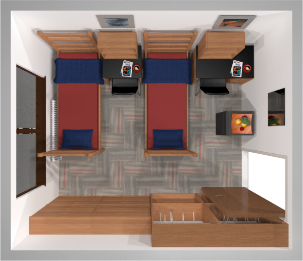 A 2d layout view of a double room in Kronshage.