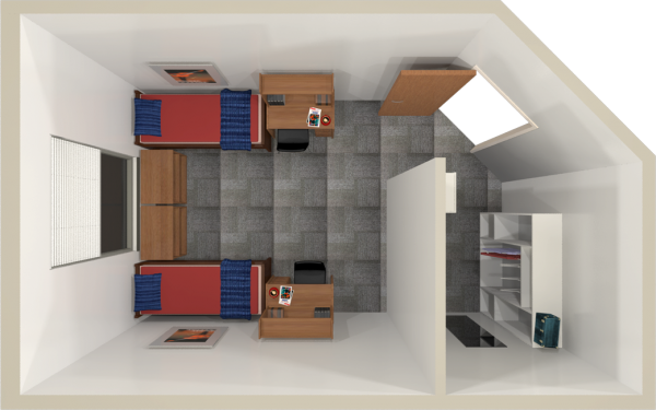 A 2d layout view of a double room in Leopold.