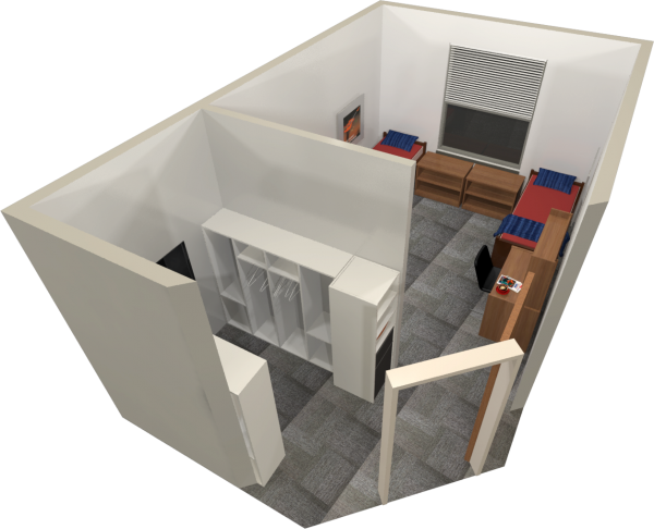 A 3d layout view of a double room in Leopold.
