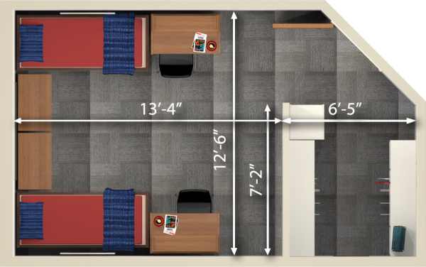 A 2d layout view with the dimensions of a double room in Leopold.