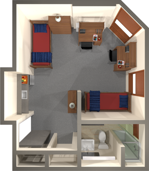 A 2d layout view of a double room in Merit.