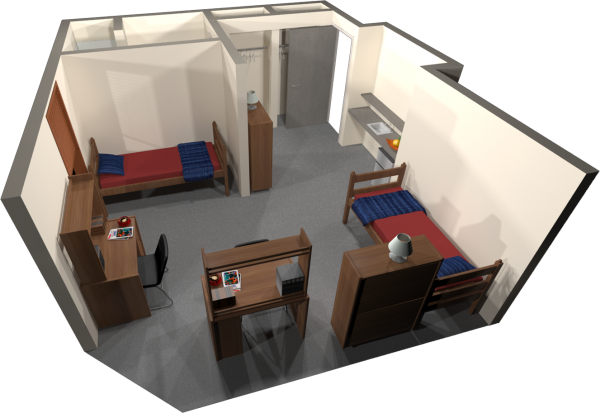 A 3d layout view of a double room in Merit.