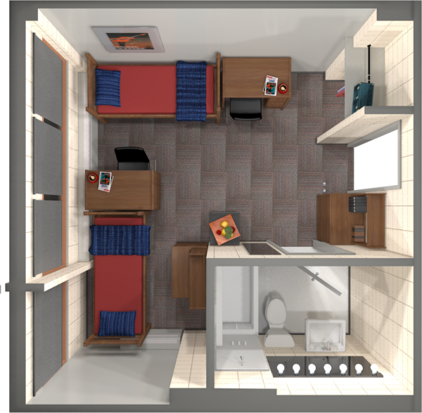 A 2d layout view of a double room in Phillips.
