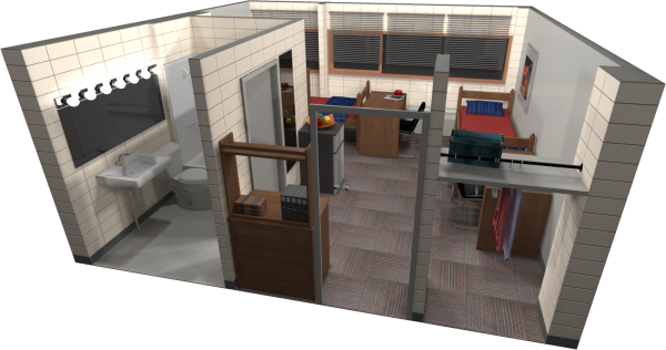 A 3d layout view of a double room in Phillips.