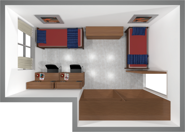 A 2d layout view of a two-window, double room in Sellery.