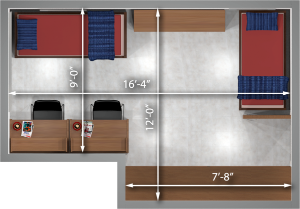 A 2d layout view with the dimensions of a two-window, double room in Sellery.