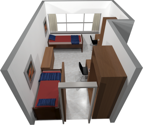 A 3d layout view of a three-window, double room in Sellery.